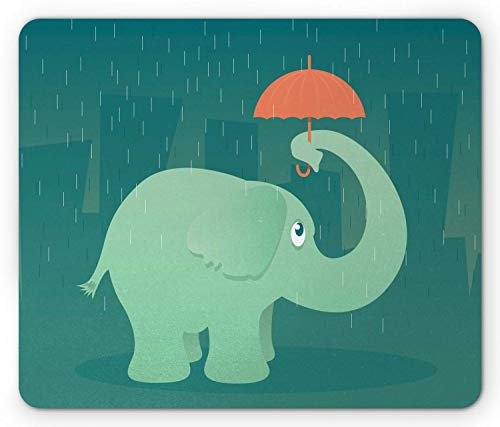 SHAQ Rain Mouse Pad Mauspads, Illustration of an Elephant Standing in The Rain Under a Tiny Umbrella, Standard Size Rectangle Non-Slip Rubber Mousepad, Mint Green Teal and Salmon