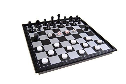 Magnetisches Brettspiel 3-in-1 (kompakte Reisegröße): Schach, Dame - Backgammon - magnetische Spielsteine, Spielbrett zusammenklappbar, 20x20x2cm, Mod. SC54810 (DE)