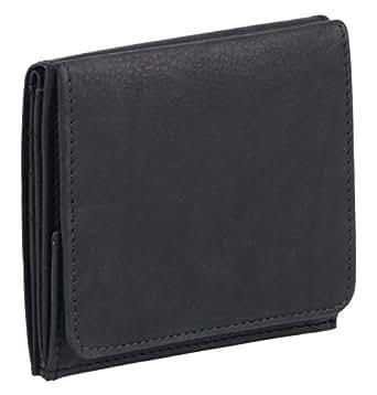 Modèle VIENNE portemonnaie particulier en cuir de vachette, fabrication façon « viennoise », avec compartiment pour la monnaie carré typique LEAS, noir