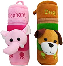 Shopcash Newborn Baby Feeding Bottle Cover with Soft & Attractive Fancy Cartoon Set of 2 Colors & Designs-(Elephant & Dog)
