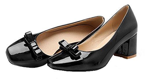 Femme Légeres Talon Tire à Noir Verni Chaussures Couleur Unie Correct VogueZone009 dqSwHzBH