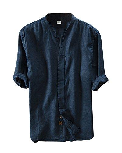 Camicia uomo camicie di lino a maniche corte con v collo estive camicia blu marino 2xl