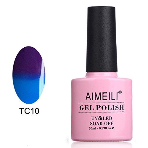 AIMEILI UV LED Gellack Thermo Nagellack ablösbarer Temperatur Farbwechsel Gel Nagellack Gel Polish - Lila bis Blau (TC10) 10ml