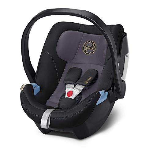 CYBEX Gold Babyschale Aton 5, Inkl. Neugeboreneneinlage, Ab Geburt bis ca. 18 Monate, Max. 13 kg, Premium Black