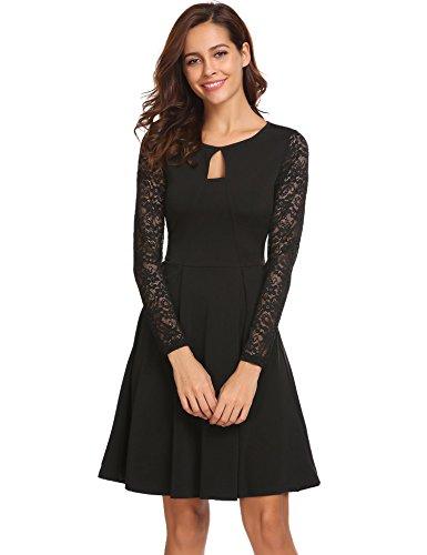 Beyove Damen Elegant Kleid Spitzenkleid Partykleid Cocktailkleid Abendkleider Ballkleider Festliches Kleid Langarm A Linie Knielang Schwarz