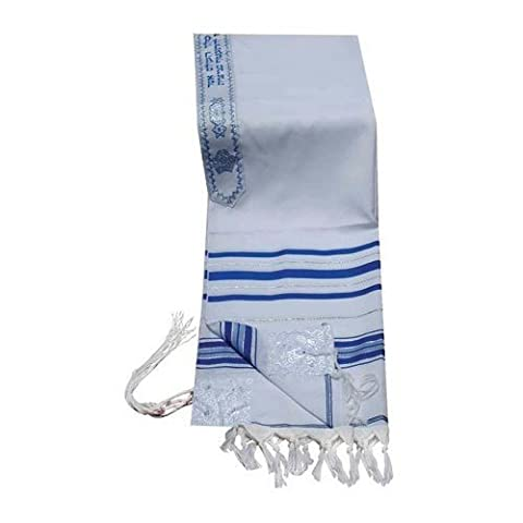 Acrylic Tallit (imitation Wool) Prayer Shawl in Blue and Silver Size 18
