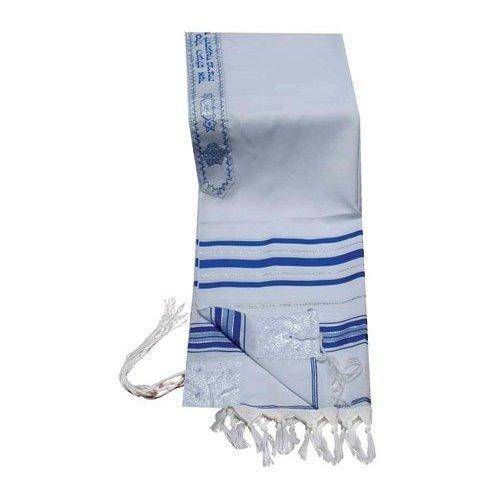 Acryl Tallit (Nachahmung Wolle) Gebet Schals in Silber und Gold Größe 106,7cm L x 162,6cm W