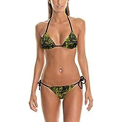 Conjunto Traje De Baño Camuflaje Graffiti Impreso Bikini Sujetador Mode De Marca Traje De Baño Bikinis Traje De Baño Plavky Y 03001 (Color : Y03001, Size : One Size)