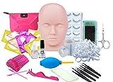 Eyelash Extension kit, MISSICEE Professional Mannequin Head Training Eyelashes for False Eyelashes Extensions