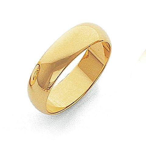 14ct 5mm leicht halbrund Band Ring–Größe L 1/2