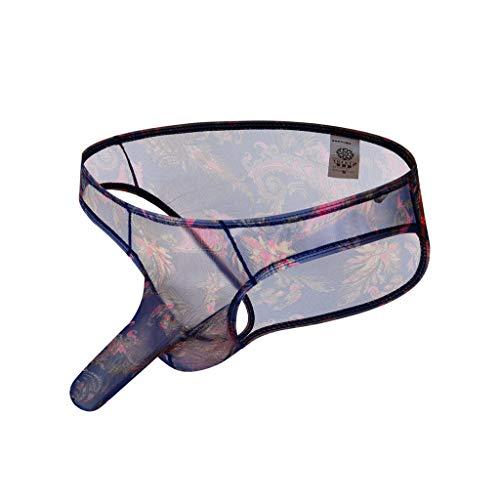 Celucke Boxershorts Herren Transparent Schlüpfer Lace Reizwäsche Männer Unterhosen Erotische Wäsche Bequeme Slips Bikini Strings Höschen (B - Blau, M)