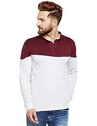 The Dry State Men's Cotton Fancy Branded Mandarin Collar Full Sleeves Tshirt