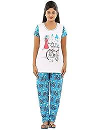 New Darling Womens WHITE DIVA AOP Cotton Pyjama Sets