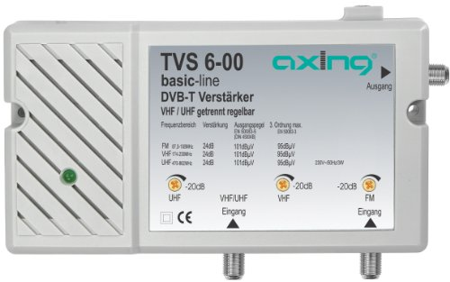 Axing TVS 6-00 Antennen-Verstärker (24 dB, 2 Eingänge) UKW VHF UHF für Radio und TV DAB+ DVB-T DVB-T2 HD