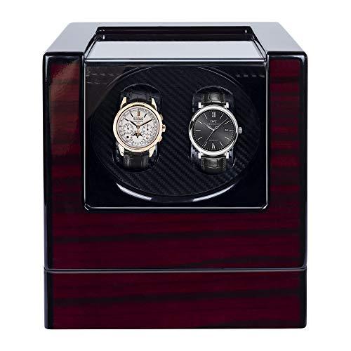 Uhrenbeweger fur Automatikuhren 2 Uhren Kalawen Watch Winder Box für alle Automatikuhren Mechanischen Uhren mit leisem Wechselstromadapter oder batteriebetrieben Rot