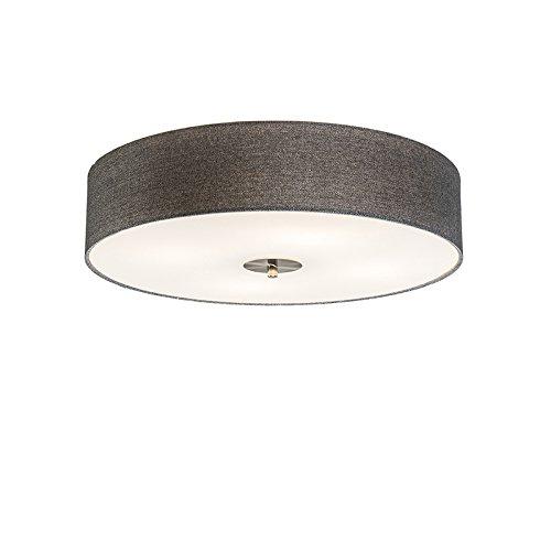 QAZQA Landhaus / Vintage / Rustikal / Modern / Deckenleuchte / Deckenlampe / Lampe / Leuchte Drum mit Schirm 50 Jute grau/ 4-flammig / Innenbeleuchtung / Wohnzimmer / Schlafzimmer / Küche Glas / Metal