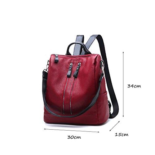 CLOTHES- Sacchetto di spalla delle signore zaino nero PU dell'unità di elaborazione di capacità selvaggia di personalità di modo coreano ( Colore : Rosso ) Rosso