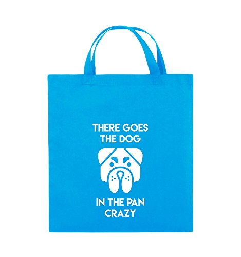 Comedy Bags - THERE GOES THE DOG IN THE PAN CRAZY - Jutebeutel - kurze Henkel - 38x42cm - Farbe: Schwarz / Silber Hellblau / Weiss