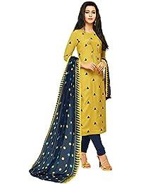 AKHILAM Women's Chanderi Salwar Suit