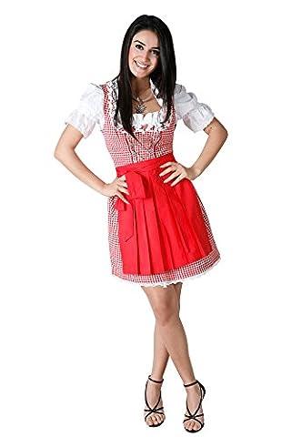 3tlg. Dirndl Set rot kariert Oktoberfest mit Bluse und Schürze, Gr. 46