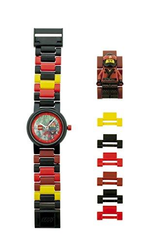 LEGO NINJAGO MOVIE 8021117 Kai Kinder-Armbanduhr mit Minifigur und Gliederarmband zum Zusammenbauen , rot/schwarz, Kunststoff ,Gehäusedurchmesser 25mm, analoge Quarzuhr , Junge/ Mädchen , offiziell