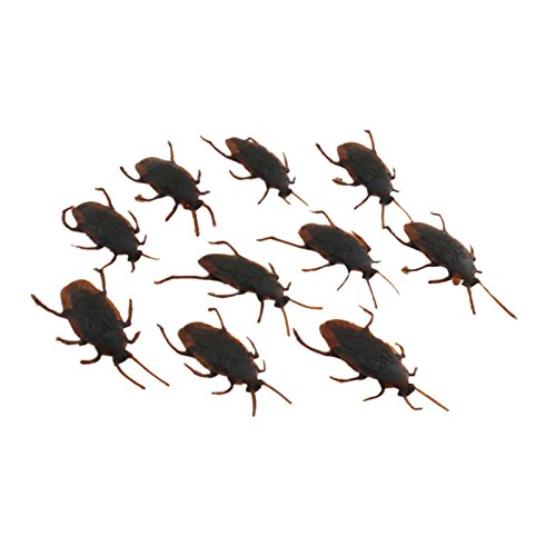 Fake Plastic Roaches Prank Novelty Cockroach Bugs Looks Real (Brown) - 1a247 - (Pack of 10) Halloween Trick Toys