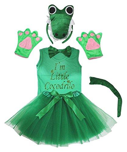 Petitebelle 3D-Stirnband Bowtie Schwanz Handschuhe Hemd Rock 6pc Mädchen-Kostüm 5-6 Jahre 3d grünes Krokodil (Crocodile Rock Kostüm)