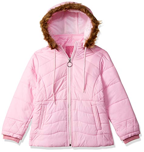 Qube By Fort Collins Girl's Quilted Regular fit Jacket (69187AZ_Baby Pink_26)