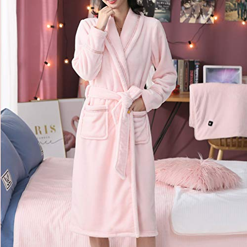 Damen Bademantel Coral Fleece, Plus-Samtverdickung Super Soft Komfortable Spa Robe Lounge Haus Leichte Robe for Frauen-S, M, L, XL, XXL, XXXL (Color : Coral, Size : XXXL)