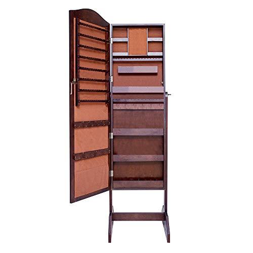 soges Schmuckschrank Standspiegel abschließbar stehend, Winkel Einstellbar Spiegelschrank Schmuckkasten Schmuckaufwahrung, Braun, L062-C