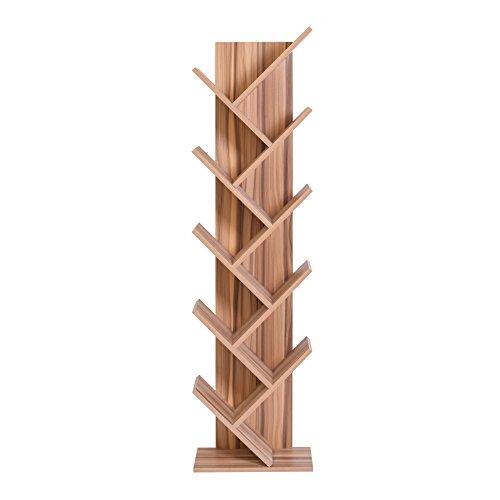 Mobili rebecca® libreria scaffale 10 ripiani legno marrone stile contemporaneo sala cameretta (cod. re4797)