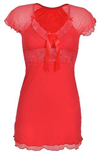 DKaren-Nachtwäsche Damen Negligee aus Viskose PAULINA (XS - 2XL) (M, Rot)