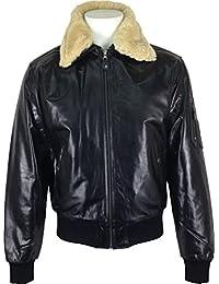 UNICORN Hommes 'Airforce' aviateur pilot Réel en cuir Veste Noir (Réel fourrure collier) #P1