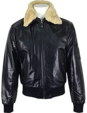 UNICORN Hombres Genuino real cuero chaqueta Airforce Aviador Piloto Negro (Cuello de piel real) #P1