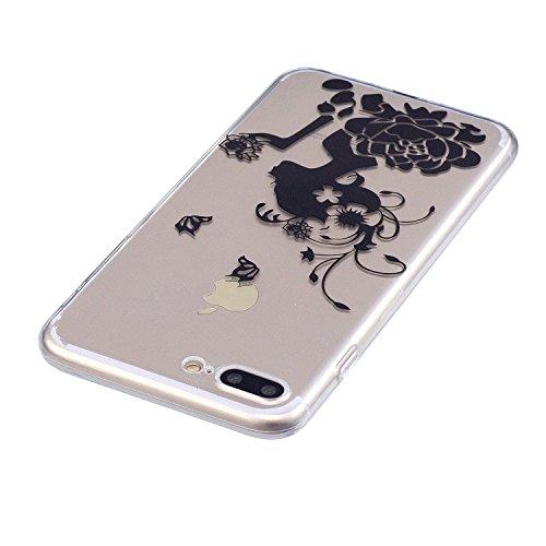 Custodia per iPhone 8 Plus, Custodia per iPhone 7 Plus ,JIENI Le piume sognano Trasparente TPU Stent misto Cover Coperchio Flessibile Sottile Protettivo Morbido Silicone Custodia Skin Bumper Case per  FD63