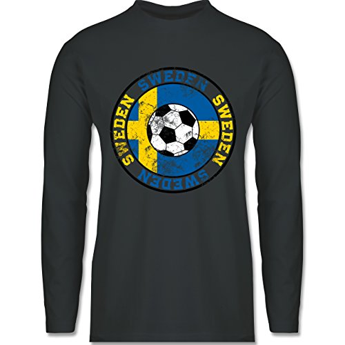 Shirtracer Fußball-WM 2018 - Russland - Sweden Kreis & Fußball Vintage - Herren Langarmshirt Dunkelgrau