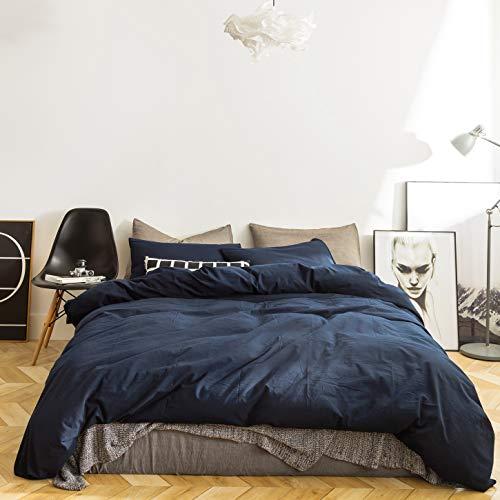 SUSYBAO 3 Stück Bettbezug-Set gewaschener Baumwolle Größe 1 Bettbezug mit 2 Kissenbezügen Marine blau König -