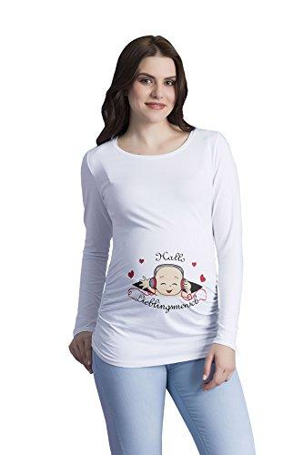 Hallo Lieblingsmensch - Witzige süße Umstandsmode T-Shirt mit Motiv Schwangerschaft, Langarm Weiß