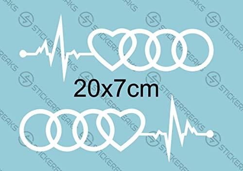 2X Aufkleber Audiringe Herzschlag 20x7cm Cabrio A3 A4 A6 Auto Liebe Herz Sticker 2 Stück (rechte & Linke Seite) (Weiß)