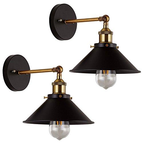 Hines 2-Pack Wandleuchten Licht Wand Industrial Vintage Edison Einfachheit Lampe Befestigung Stahl Fertig für Cafe Club 2 Licht