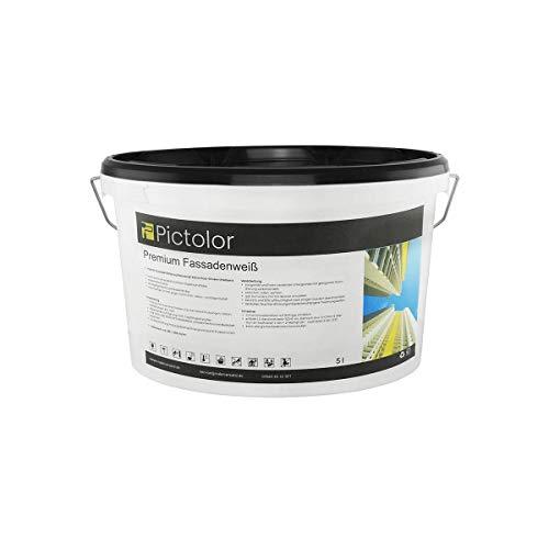 Pictolor Premium Fassadenweiß 5 Liter - Weiß | Siliconharzfassadenfarbe | Hybrid-Fassadenfarbe - außen - wetterbeständig