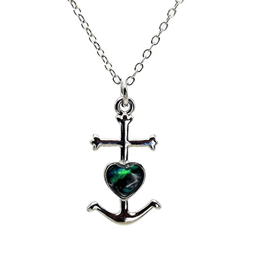 Miss Fantaisies - Collection Nacre Naturelle - Pendentif en Nacre d'Abalone en forme de Croix de Camargue sur métal Chromé