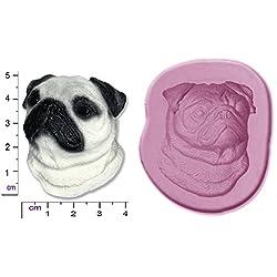 Molde de silicona para figuras de azúcar, diseño de perro carlino