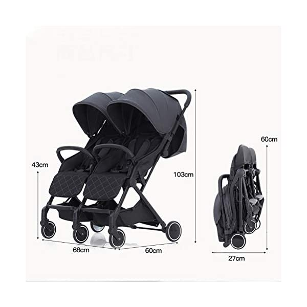 ZXYSR Double Stroller, Lightweight & Easy Folding Duo Baby Stroller with Side by Side Twin Seats, 5-Point Safety Harness, Suitable for 6 Months To 3 Years, Gray ZXYSR ★LIGHTWEIGHT - A lightweight stroller makes any outing a little easier! Convenience Stroller has a durable aluminum frame that weighs just 55 pounds and has a large seat area, plus anti-shock front wheels and lockable rear wheels. ★FOR TRAVEL AND EVERYDAY TRAVEL STROLLER- Whether you're traveling or just on the go running everyday errands, having a lightweight, compact stroller is a must! With this one easy to use stroller, you'll have both an everyday and travel stroller option. ★ MULTI POSITION RECLINING SEAT- Keep your little one comfortable and safe at all times with the 2 position recline and easily adjust for baby's comfort; large storage basket and two integrated seatback pockets provide space for baby's extras; seat holds child up to 55 pounds and includes a 5 point stroller harness. Maximum weight of child for this toddler stroller: 55 pounds . 2