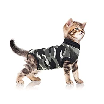 Suitical Recovery Suit for Cats X-Small in Black Camo. Professional alternative to the Cone of Shame. Suitable for wound and Bandage protection, Hotspots, Skin Diseases. Recommended and used by thousands of pet owners and vets worldwide.