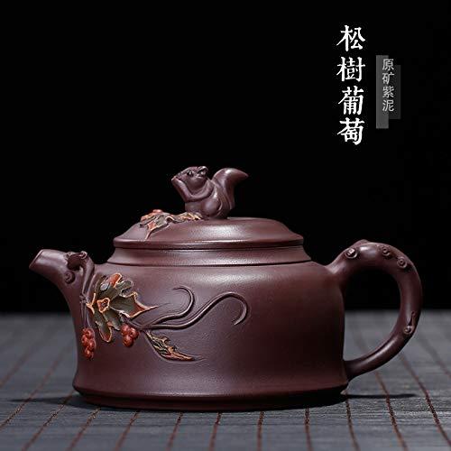 Chinesischen Yixing Zisha Teekanne,Handgefertigte Vintage Retro Einzigartige Orientalische Original Antiken Design Rohstoff Erz Lila Ton Keramik Teekanne,330 ml Vierkantmuttern Und Blätter Carving