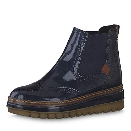 Tamaris Damen Stiefeletten 25448-23, Frauen Chelsea Boots, feminin elegant Women\'s Woman Freizeit leger Stiefel Bootie,Pacific PATENT,40 EU / 6.5 UK