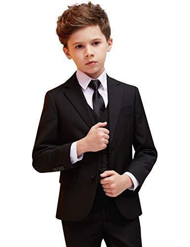 ELPA Jungen Anzug Smoking 5 Stück Slim Fit Formale Kleidung Kinderkostüm für Hochzeit Kommunion zurück zu Schule Taufkleid, Schwarz, 10 inch-8/9 Jahre