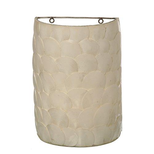 DonRegaloWeb-Lampe Wandleuchte mit Muschel und Perlmutt in Weiß