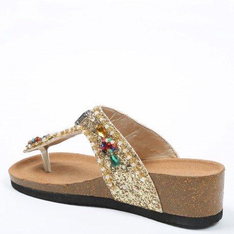 Ideal Shoes - Nu-pieds pailleté et incrusté de strass Andrienne Doree